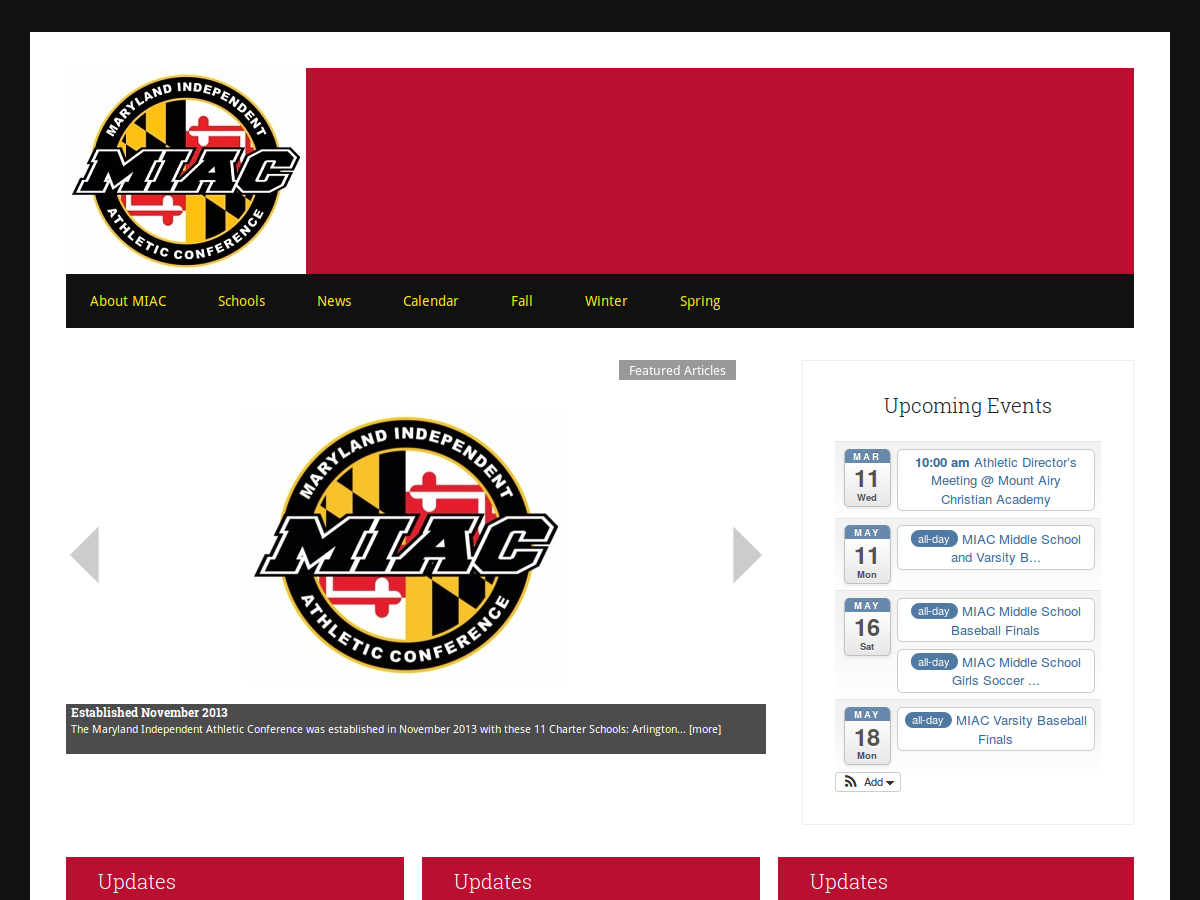 miacsports.org home page